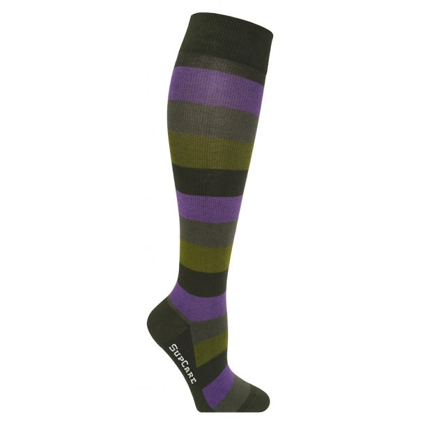 Compression stockings with green and purple stripes