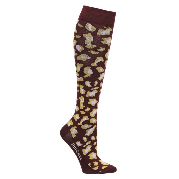 Compression stockings, bordeaux leopard
