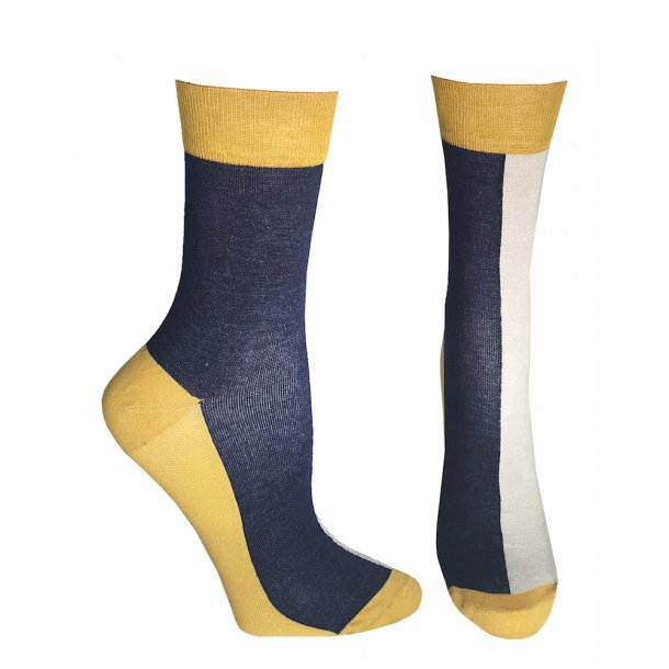 Compression crew socks with bamboo fibers, blue/yellow