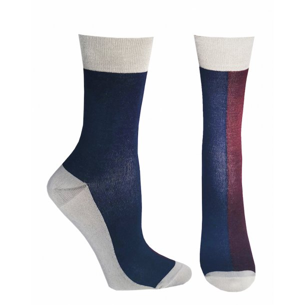 Compression crew socks with bamboo fibers, blue/bordeaux