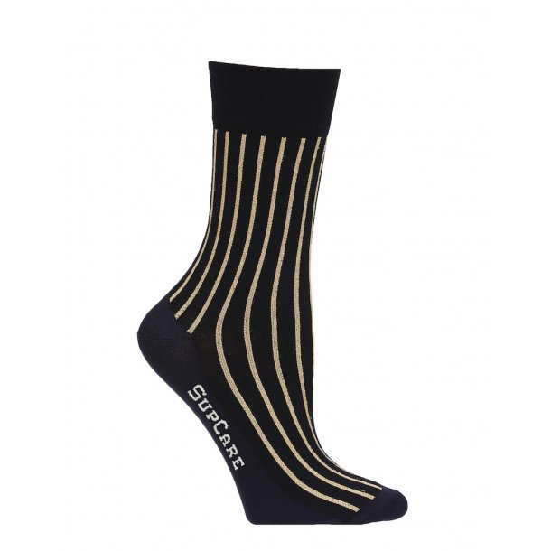 Compression crew socks with cotton, black with gold glitter