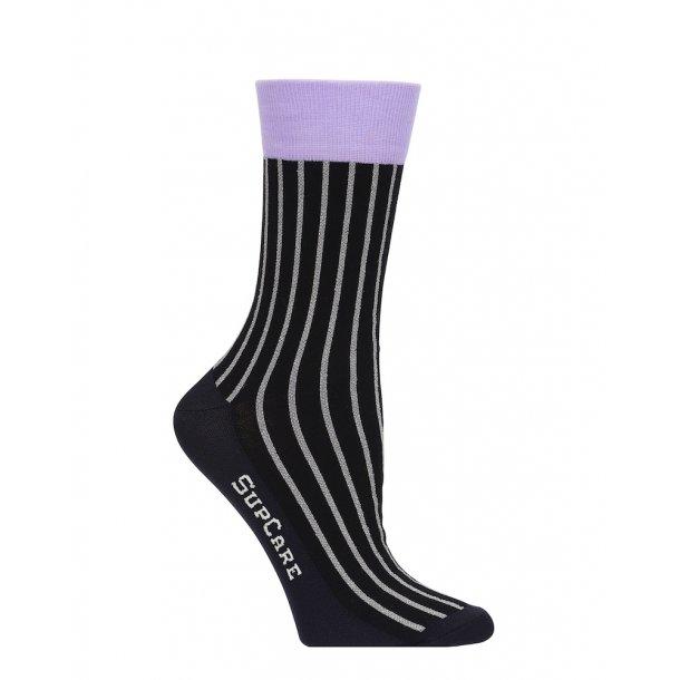 Compression crew socks with cotton, black/purple with silver glitter