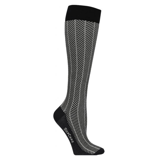 Compression stockings black herringbone with silver glitter