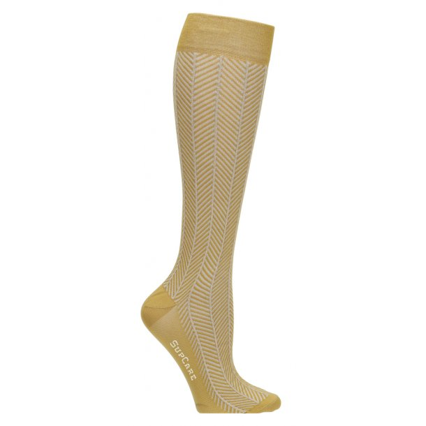 Compression stockings yellow herringbone with gold glitter