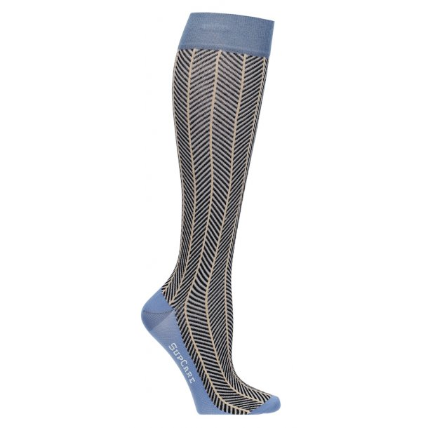 Compression stockings blue herringbone with gold glitter