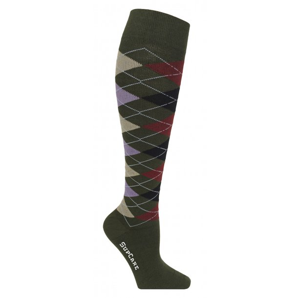 Compression stockings cotton, green with harlequin squares