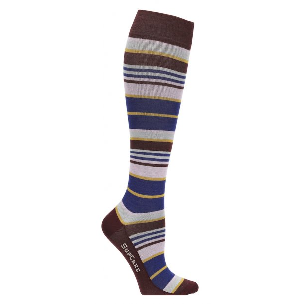 Compression stockings with bamboo fibers, bordeaux/pink stripes