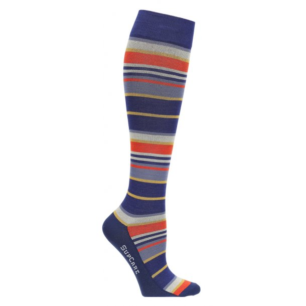 Compression stockings with bamboo fibers, red/blue stripes