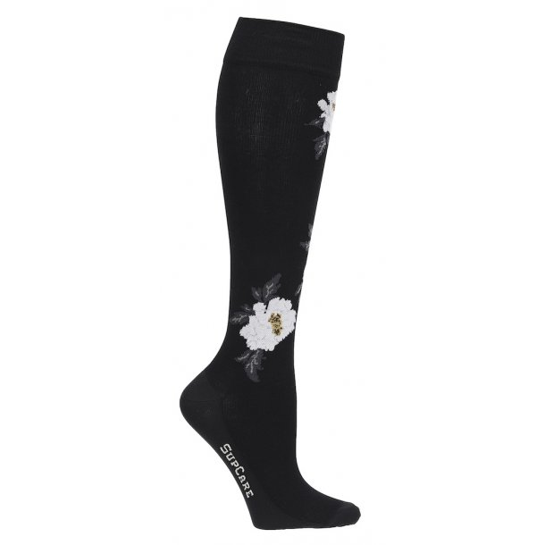 Compression stockings black with big roses