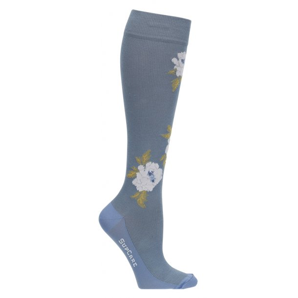 Compression stockings blue with big roses