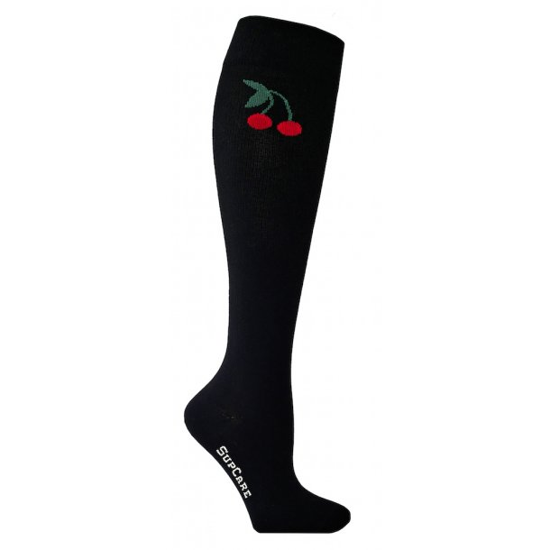 Compression stockings black with cherries