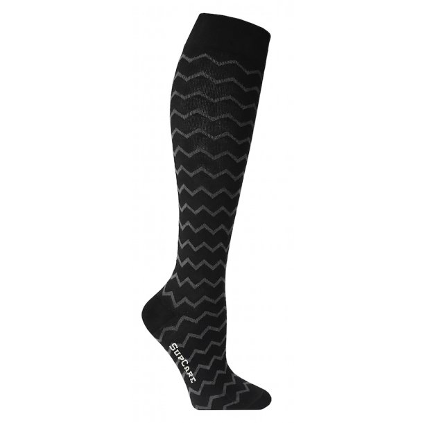 Compression stockings black with zig-zag pattern
