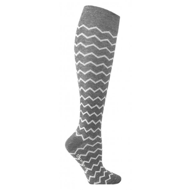 Compression stockings grey with zig-zag pattern