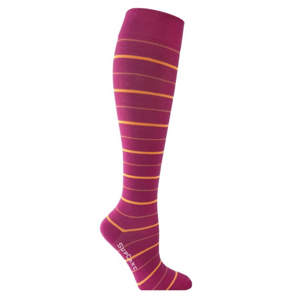 Compression stockings Bamboo fibers with pink / orange stripes