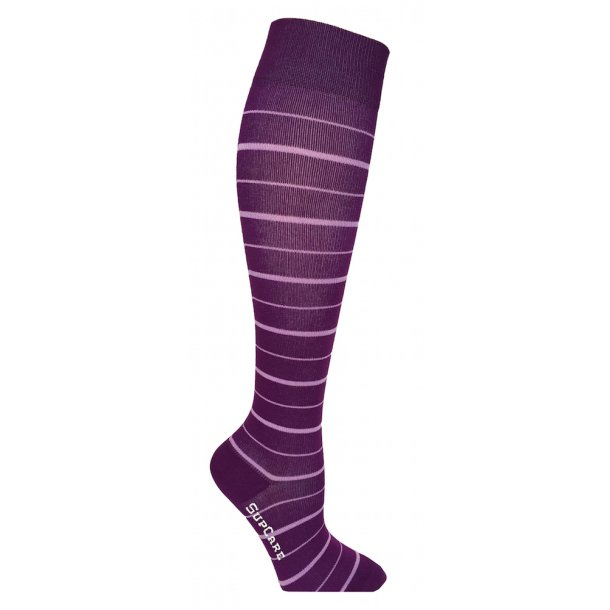 Compression stockings Bamboo fibers with purple stripes