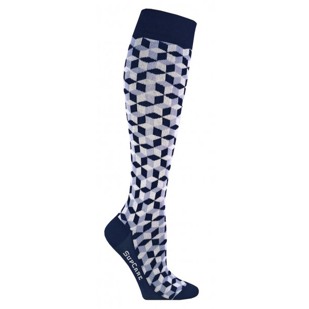 Compression stockings Bamboo fibers, blue geometry