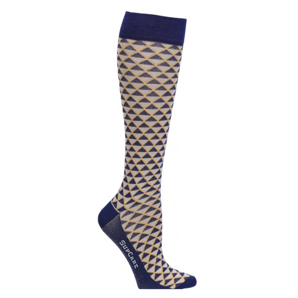 Compression stockings Bamboo fibers, blue/yellow geometry