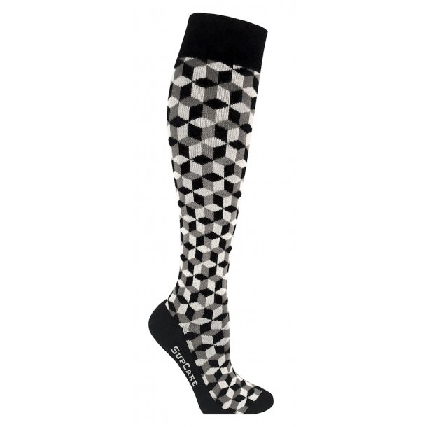 Compression stockings Bamboo fibers, black geometry