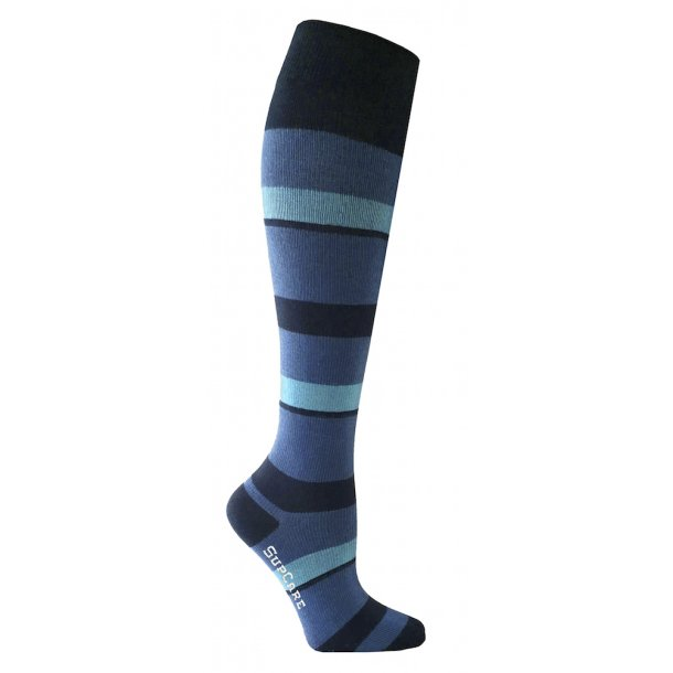 Compression stockings with blue and turquoise stripes