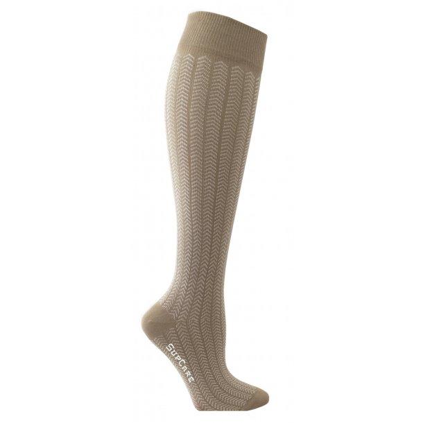 Compression stockings with beige herringbone