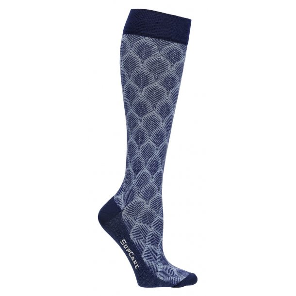 Compression stockings with bamboo fibers, leaf knit, blue