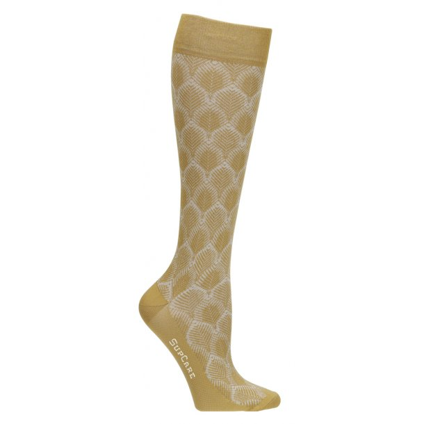 Compression stockings with bamboo fibers, leaf knit, curry