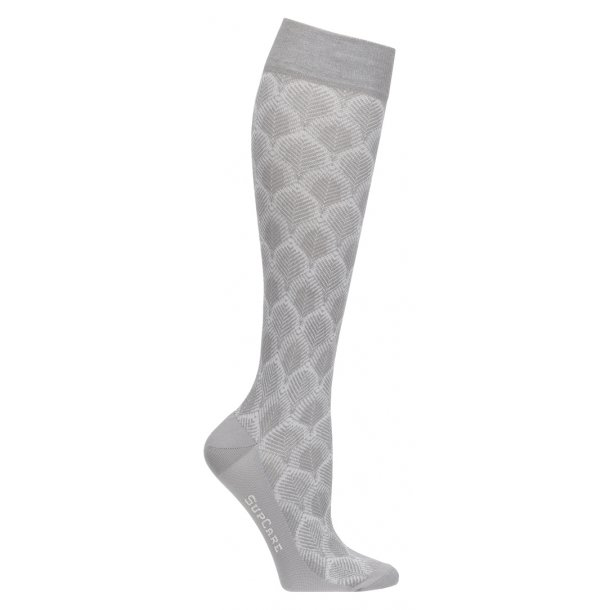 Compression stockings with bamboo fibers, leaf knit, grey
