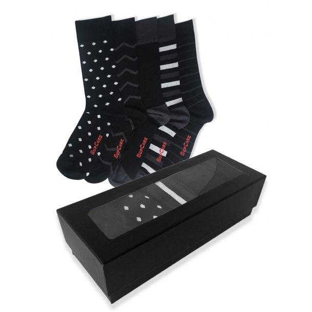 Geschenkbox Bambus Socken ohne Kompression, 5 Paar, Schwarz