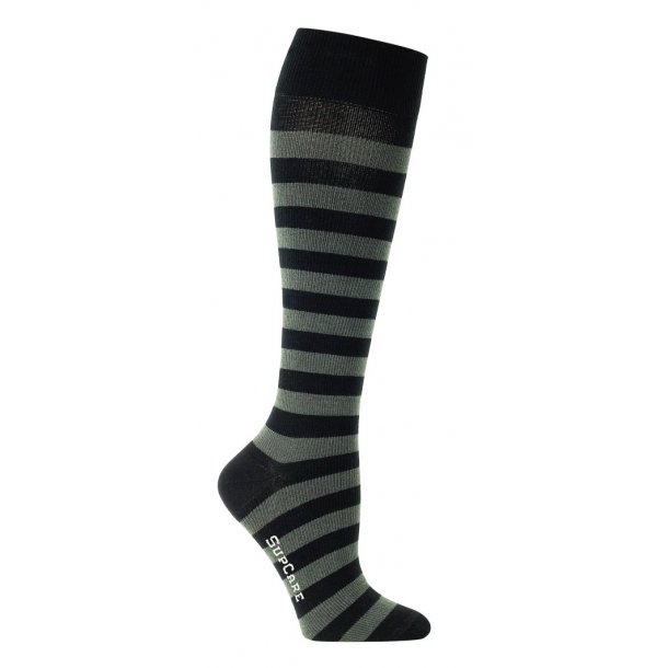 Compression stockings with gray and black stripes