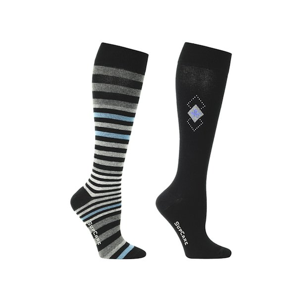 2 pair of compression stockings with window and multi stripes