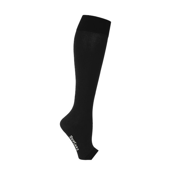 Compression stockings with open toe black
