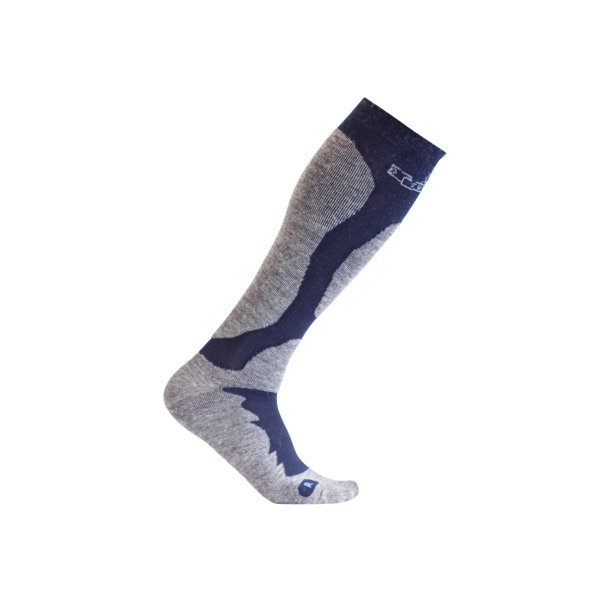 SupCare Elite compression stocking for skiing with merino wool, navy/grey