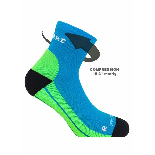 SupCare Recovery compression socks (short), neon blue and green