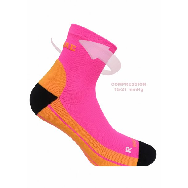 SupCare Recovery compression socks (short), neon pink and orange