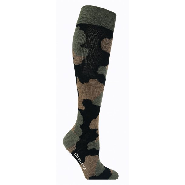 Compression socks with merino wool, green camouflage