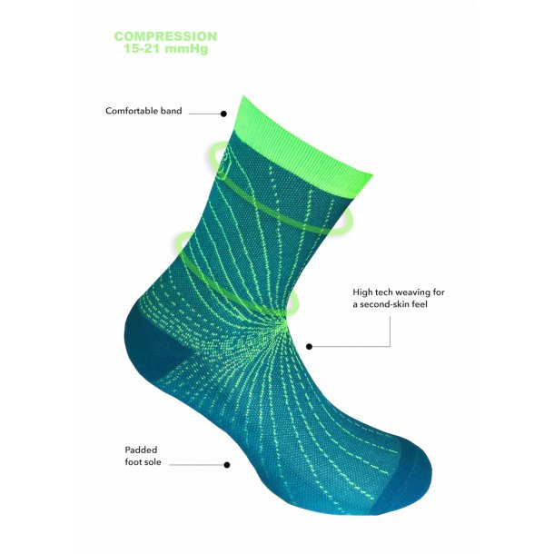 Compression crew socks, Cooling Knit, blue/green