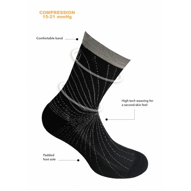 Compression crew socks, Cooling Knit, black