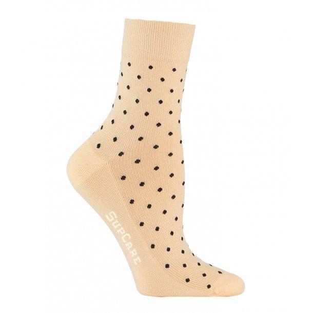 Compression crew socks cotton, sabbia with black dots