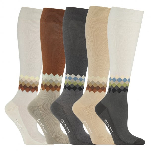 5 pack compression stockings wool, chequered mix, giftbox