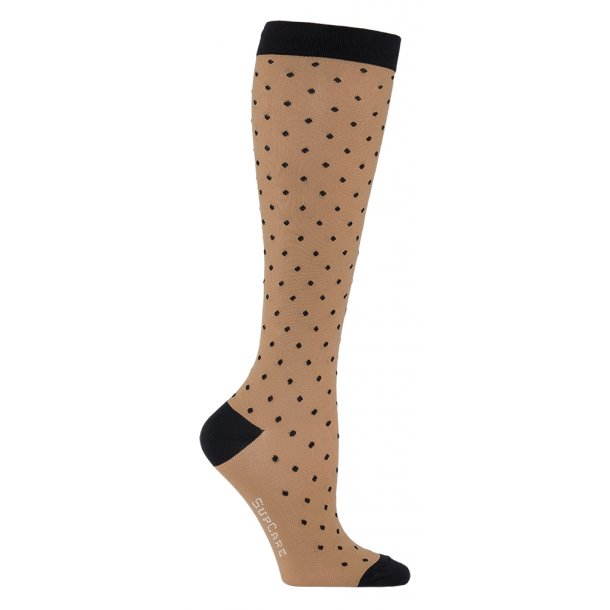 Compression stockings class 2, beige with black dots