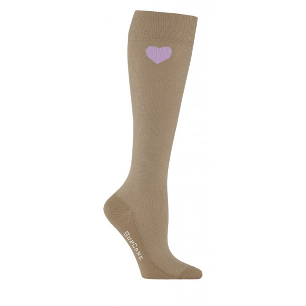 Compression stockings cotton, beige with heart