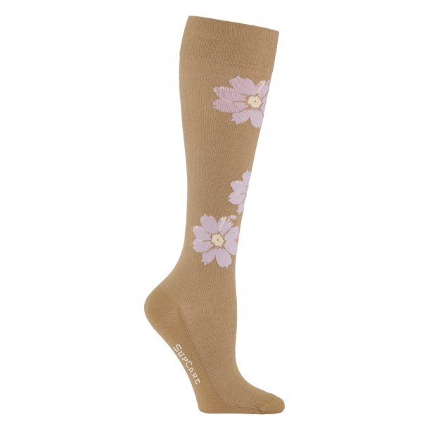 Compression stockings bamboo, nature with purple flowers