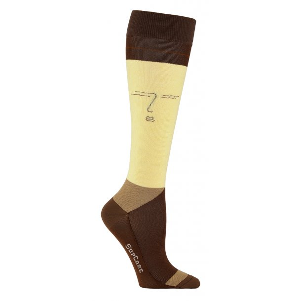 Compression stockings bamboo, yellow and nature with face