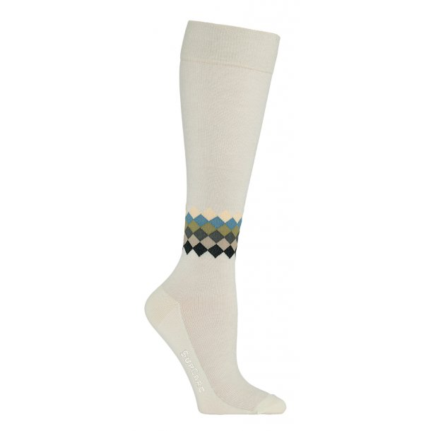 Compression stockings bamboo, sand color with chequered ankle