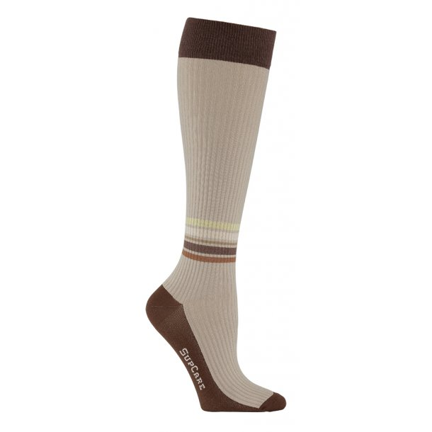 Compression stockings bamboo, rib weave, with ankle stripes