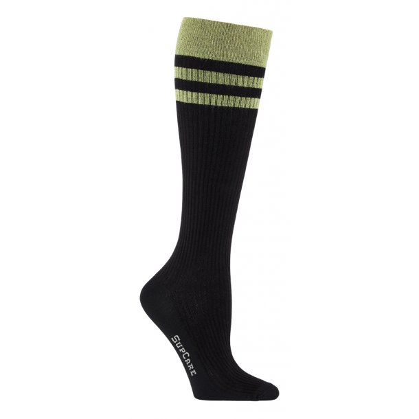 Compression stockings bamboo, rib weave, black with green stripes