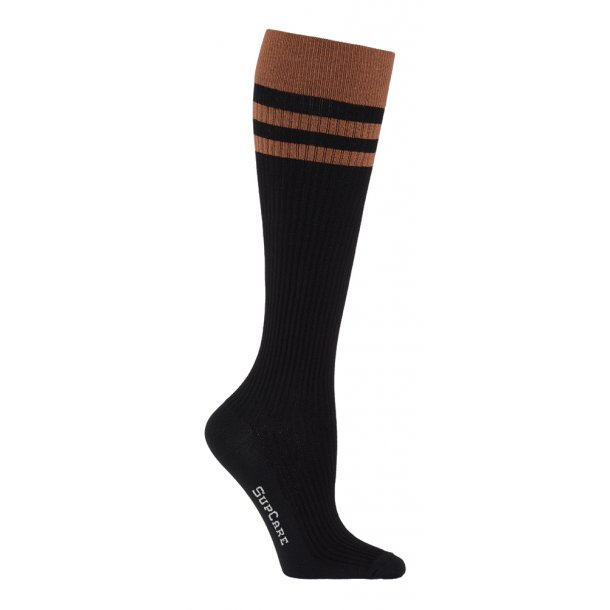 Compression stockings bamboo, rib weave, black with rust red stripes