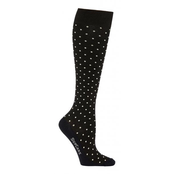 Compression stockings bamboo, black with white dots, WIDE CALF