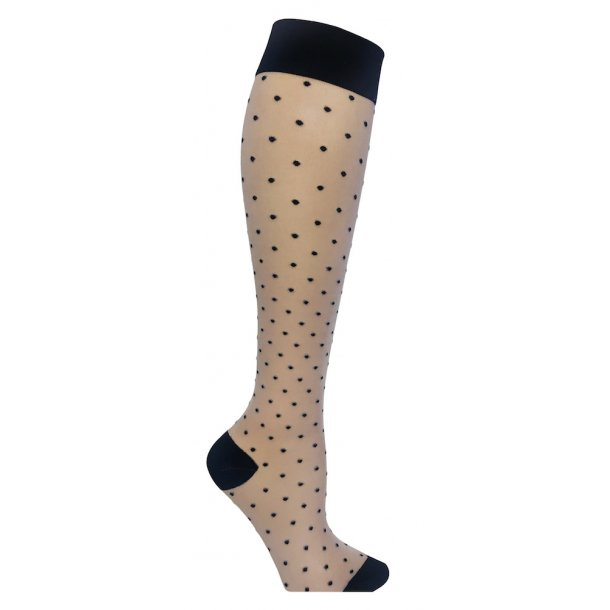 Nylon compression stockings, beige with dots