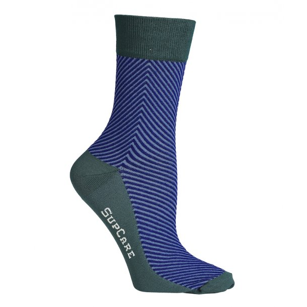 Compression crew socks with bamboo fibers, herringbone blue